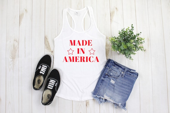 Made in America Tank Top, Made in America Tank Top, Womens USA tank top, 4th of July tank,  Fourth of July tank, Independence Day tank