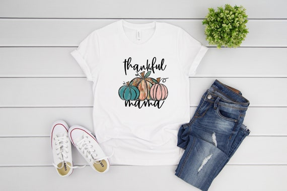 Thankful Mama tshirt for women short sleeve tee for mom, fall tees, thanksgiving shirt for fall