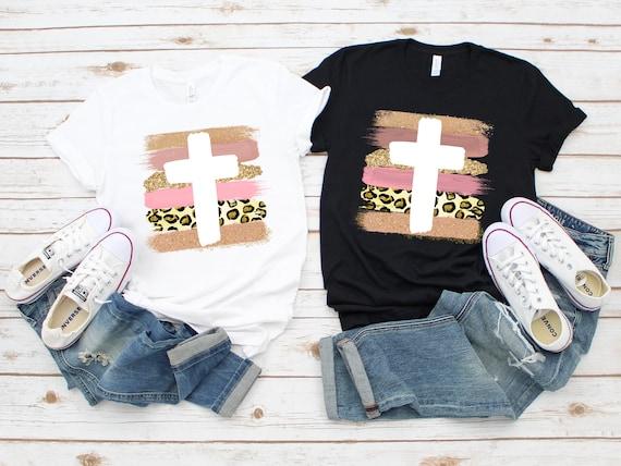 Leopard Cross religious tshirt for women, leopard Easter shirt, he is risen, Christian tshirt, Christian shirt for woman