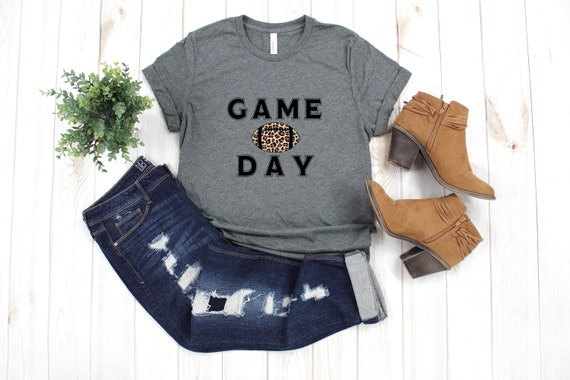 Game Day Football Tshirt, Bella Canvas GAME DAY LEOPARD Football College Football Leopard Animal Print Tshirt T-shirt Shirt Adult sizes