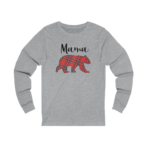 Mama Bear Christmas plaid tshirt, Family tshirts, Mama Bear shirt for Mom, Christmas family shirts