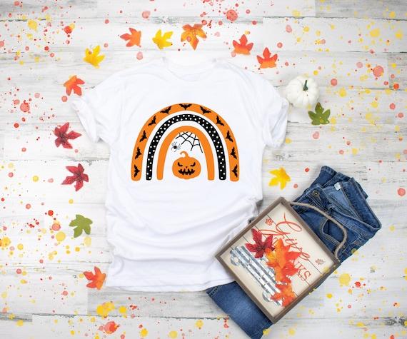 Halloween Shirts for Women Jack-O-Lantern Rainbow Shirt Womens Halloween Shirt Pumpkin Cute Halloween Party Tshirt