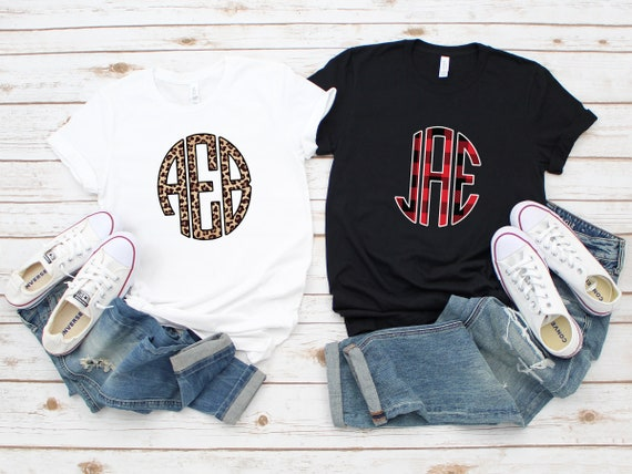 Monogram tshirt, buffalo plaid, leopard print, gift for mom, gift for her, personalized tshirt, custom tshirt, initial tshirt