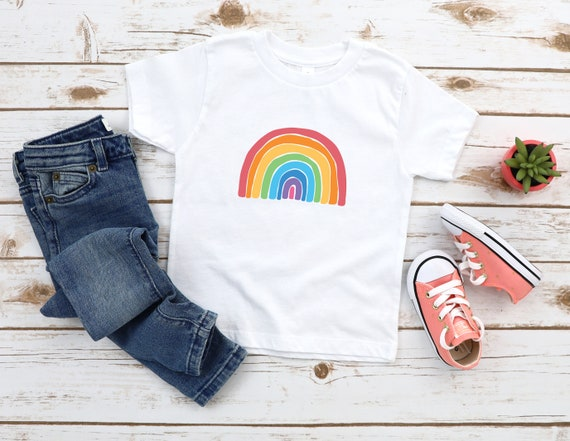 Rainbow childrens t shirt, rainbow baby kids clothing unisex t shirt, printed t shirt for kids, girls t shirt, little girls tee shirt