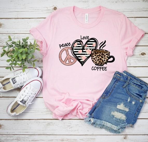 Peace Love Coffee tshirt leopard print shirt for coffee lovers, tshirt for woman, cute shirts for mom, trendy tshirts