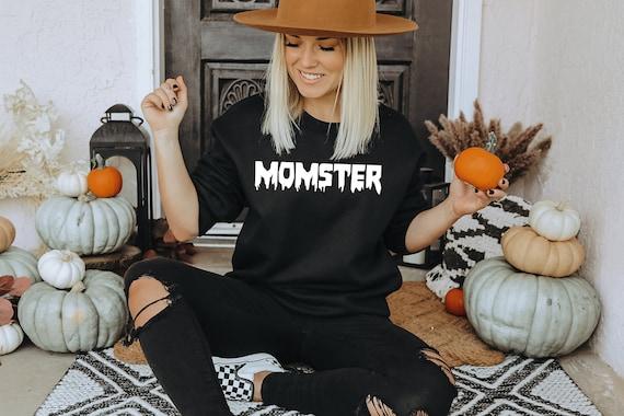 Matching Mom Kids Halloween Sweatshirts, Mommy and Me Halloween Mother Son Halloween Shirts Matching Little Monster Shirt Momster Shirt