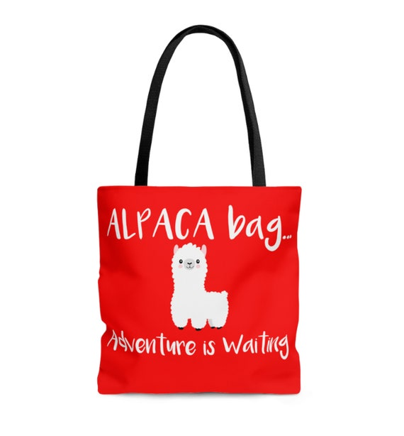 Alpaca Bag Adventure is Waiting Tote Bag, alpaca tote bag, cute tote bag, tote bag, womens bag, womens tote