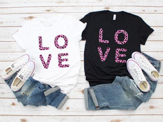 Valentine's Day tshirt, Leopard love tshirt, cute Valentine's tshirt, love tshirt, Valentine's shirt, leopard print tshirt, women's tshirt