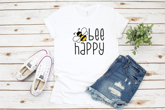 Bee Happy tshirt, bee tshirt, womens unisex tshirt, save the bees, summer outfit clothing