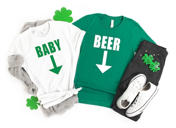 Expecting tshirt,  St Patricks Day tshirt, pregnant tshirt, couples tshirt, pregnancy announcement, beer belly shirt, baby on the way