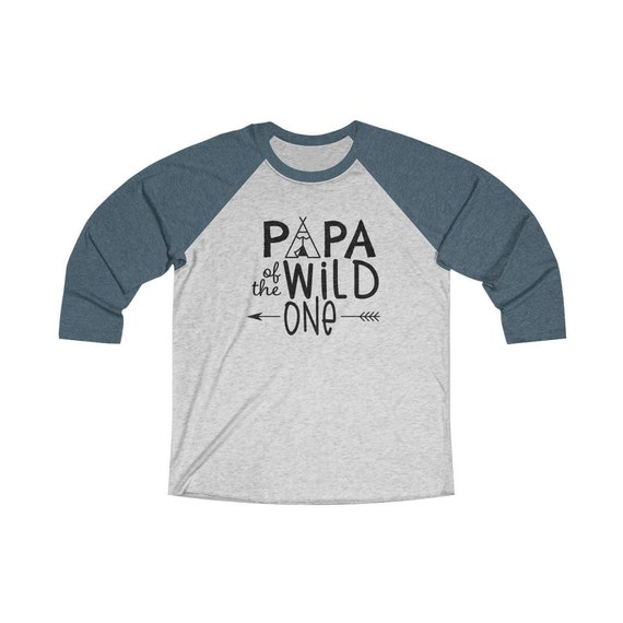 Papa of the Wild One Daddy baseball raglan Unisex 3/4 sleeve Raglan Tee, Wild One birthday party first year baby birthday