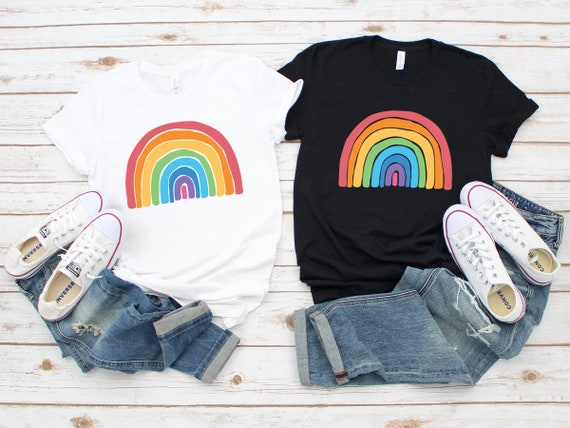 Rainbow tshirt Choose Happy Women's Clothing unisex t shirt Good Vibes Be Kind Positive Womens Tees