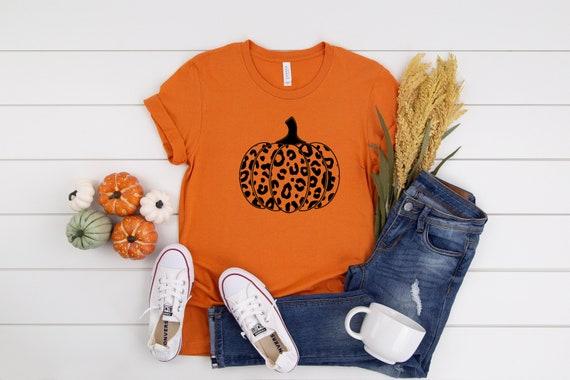 Pumpkin leopard print tshirt, womens tshirt, cute fall tshirt animal print pumpkins