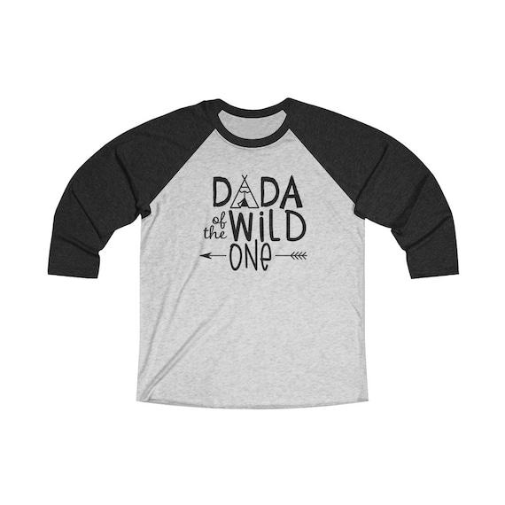 Dada of the Wild One Daddy baseball raglan Unisex 3/4 sleeve Raglan Tee, Wild One birthday party first year baby birthday shirt for Dad