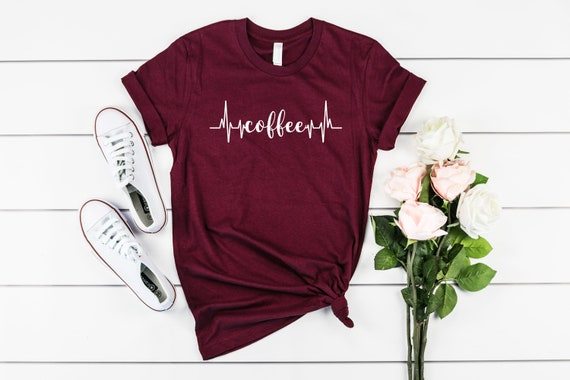 Coffee tshirt, womens tshirt, coffee lover, gift for her, gift for coffee lover, coffee heartbeat tshirt, shirt for her, coffee addict tee
