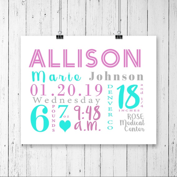 Girl Birth Announcement Stats, Birth stats print Baby girl birth announcement Birth stats wall art nursery decor Personalized nursery art