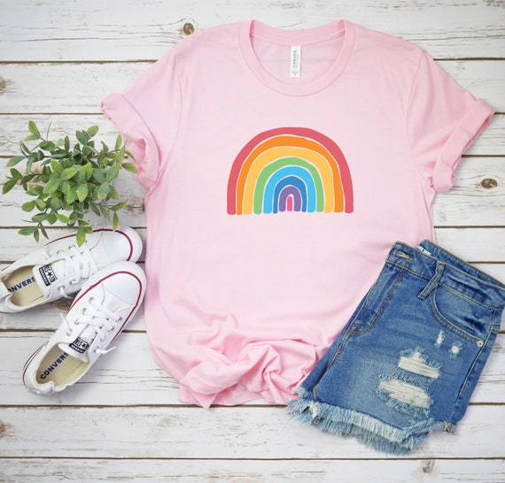 Rainbow tshirt, Choose Happy Women's Clothing unisex t shirt, Good Vibes, Happiness, Be Kind Positive Womens Tees
