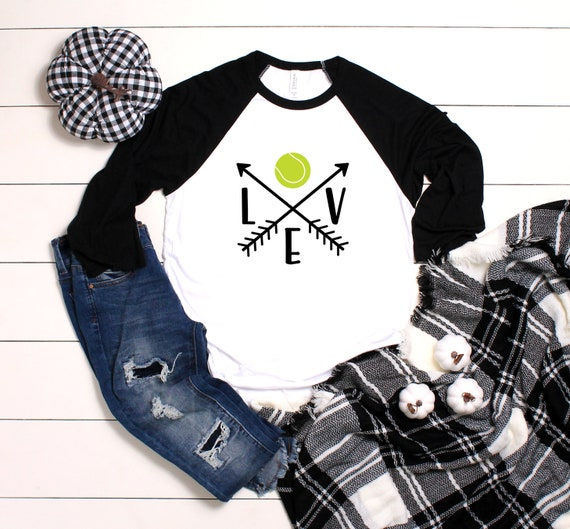 Love Tennis Unisex 3/4 Sleeve Baseball Tee, Tennis shirt, Tennis Mom shirt, Game Day Shirt, Tennis Love, Gift for Tennis Mom