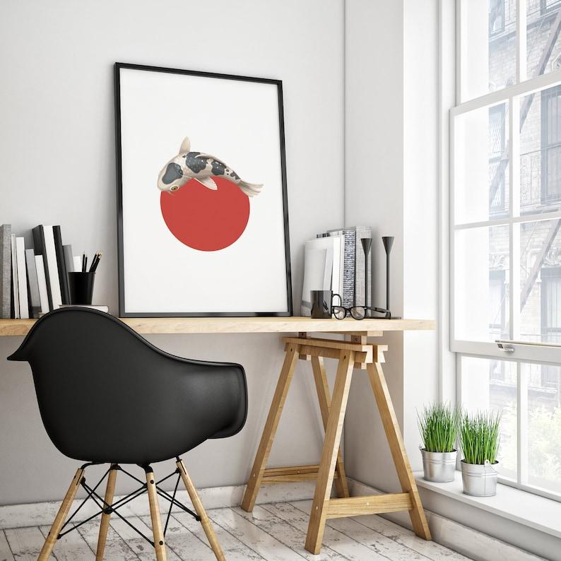 Poster koi carp in red circle