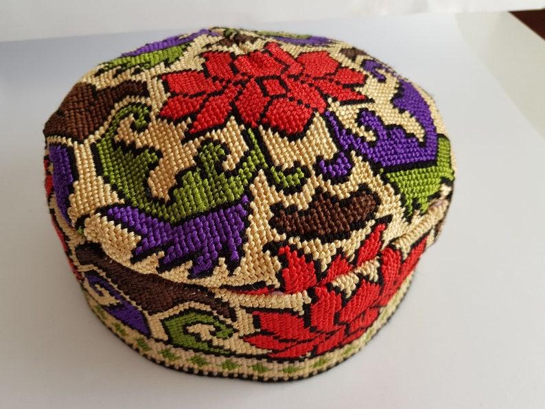 Bohemian skull cap Oriental folk party hat Oversized 61cm 24 hand stitched tribal tubeteika kippah kufi pillbox taqiyah yarmulke headwear