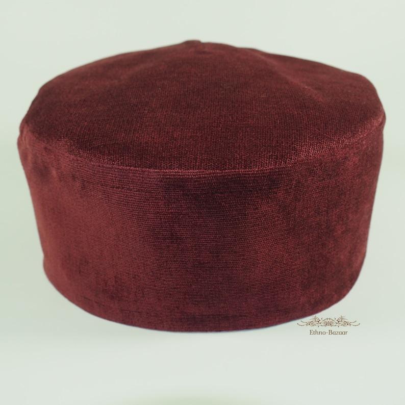 Bukharian maroon burgundy kuchi kipa taqiyah kufi koofi kippah kipa fez pillbox tubeteika skullcap smoking cap yarmulke vegan headwear hat