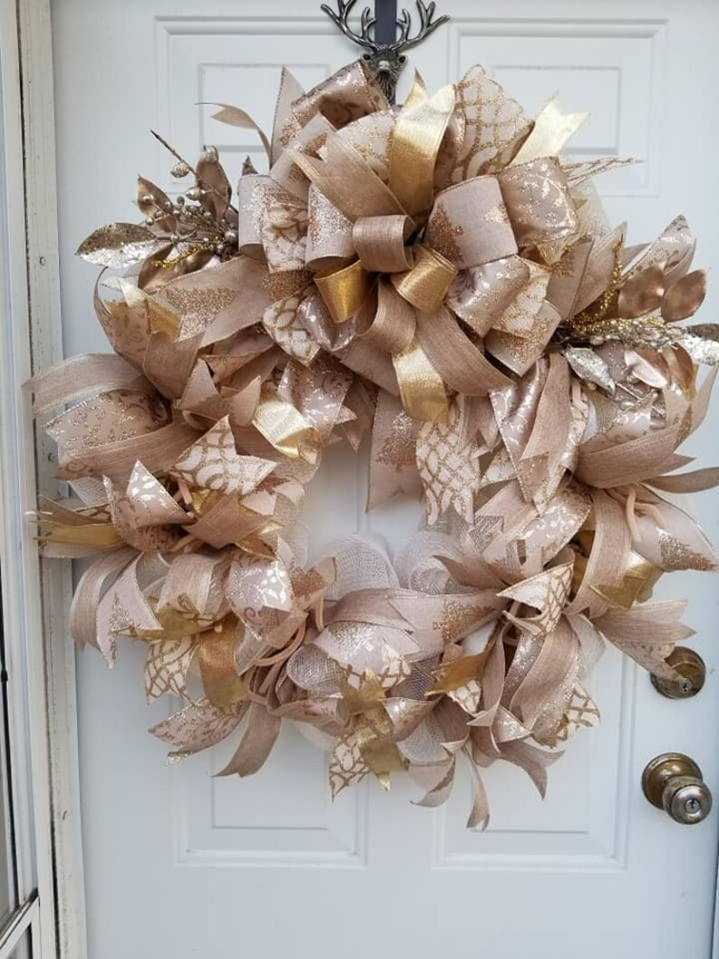 Christmas Gold Wreath Elegant Gold Wreath Gold Christmas Wreath for Front Door Victorian Christmas Wreath Christmas Wreath