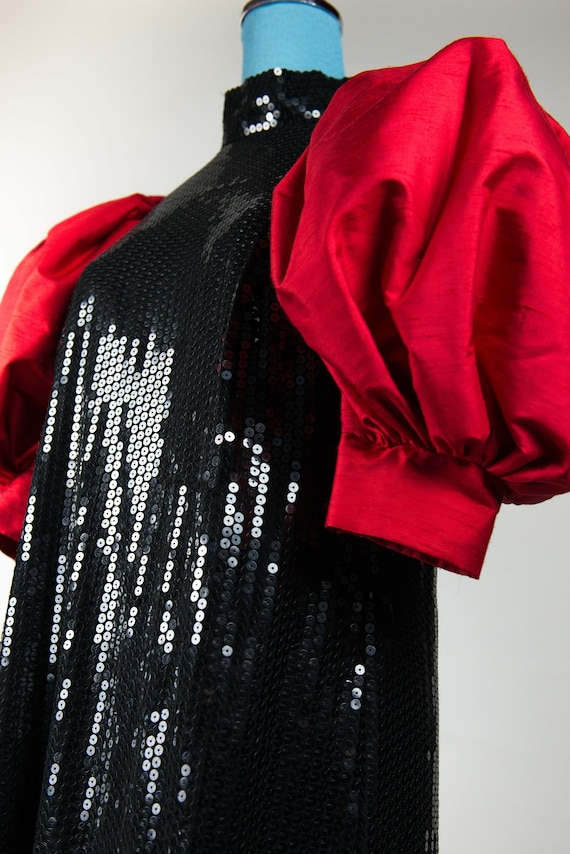 Vintage 80s sequin dress unique with red silk slee