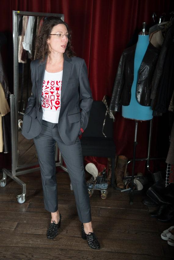 Suit business, Grey suit for women, slim business