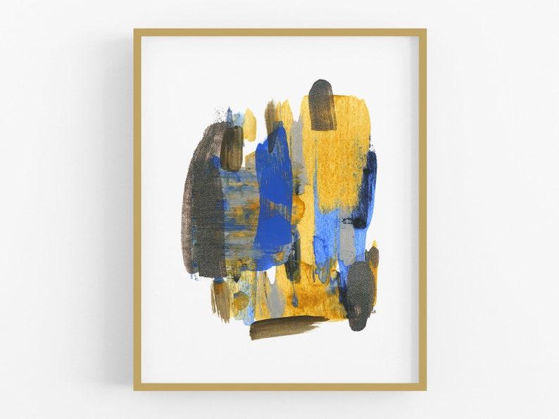 Blue /& Mustard Abstract Watercolor Art Print No 3  Abstract Art  Wall Decor  Modern Art  Abstract Watercolor  Watercolor Painting