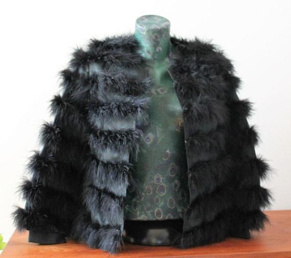 Jacket Real Feathers Black BiBa+Pariscop 80s Vinta