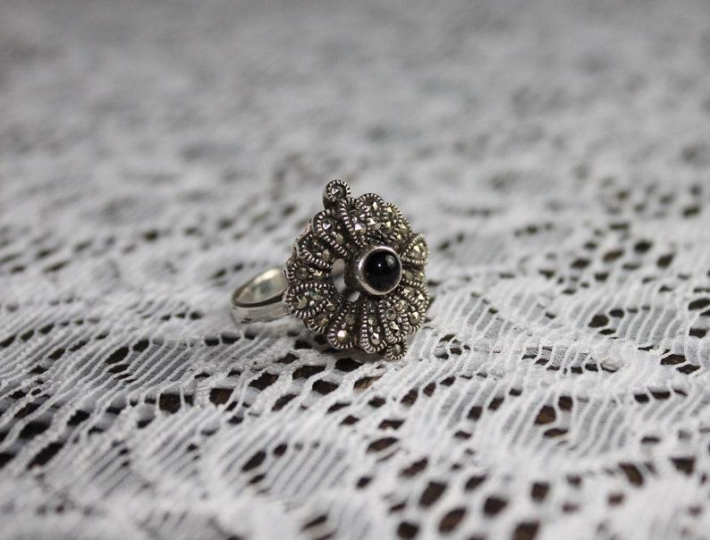 Original Art Nouveau Ring 925 Silver Onyx Market Sites