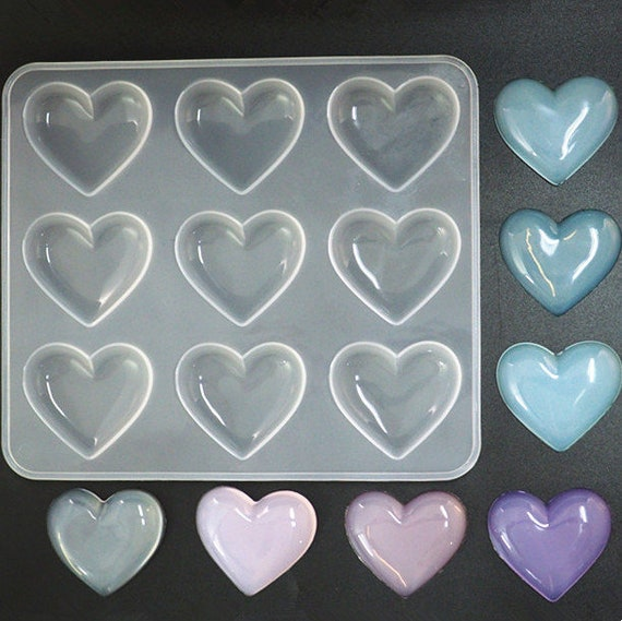3-58 square makes 9 heart shapes tol0693 HEART RESIN MOLD Silicone Mold to make heart shaped pendants reusable