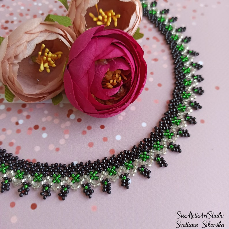 Women/'s gift jewelry Shimmer necklace Black silver green necklace Beadwork necklace Beaded necklace for woman Small black necklace