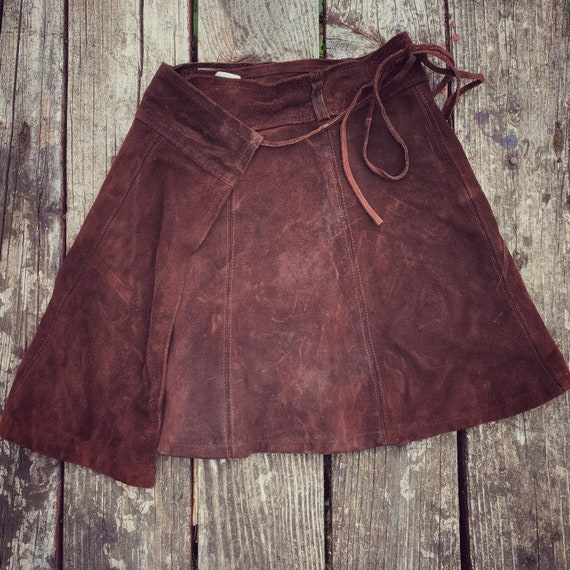 60s 70s Vintage Brown Suede Leather Wrap Mini Skir