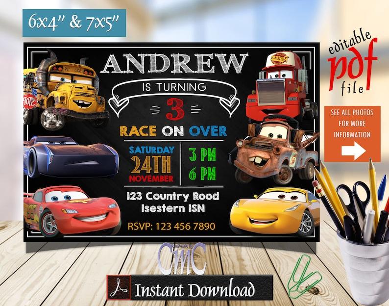 Editable Cars Invitation, Cars Birthday, Cars Party, Cars Invite, Disney  Cars Invitation, Cars 3 Invitation, Cars Invitation Birthday, Cars