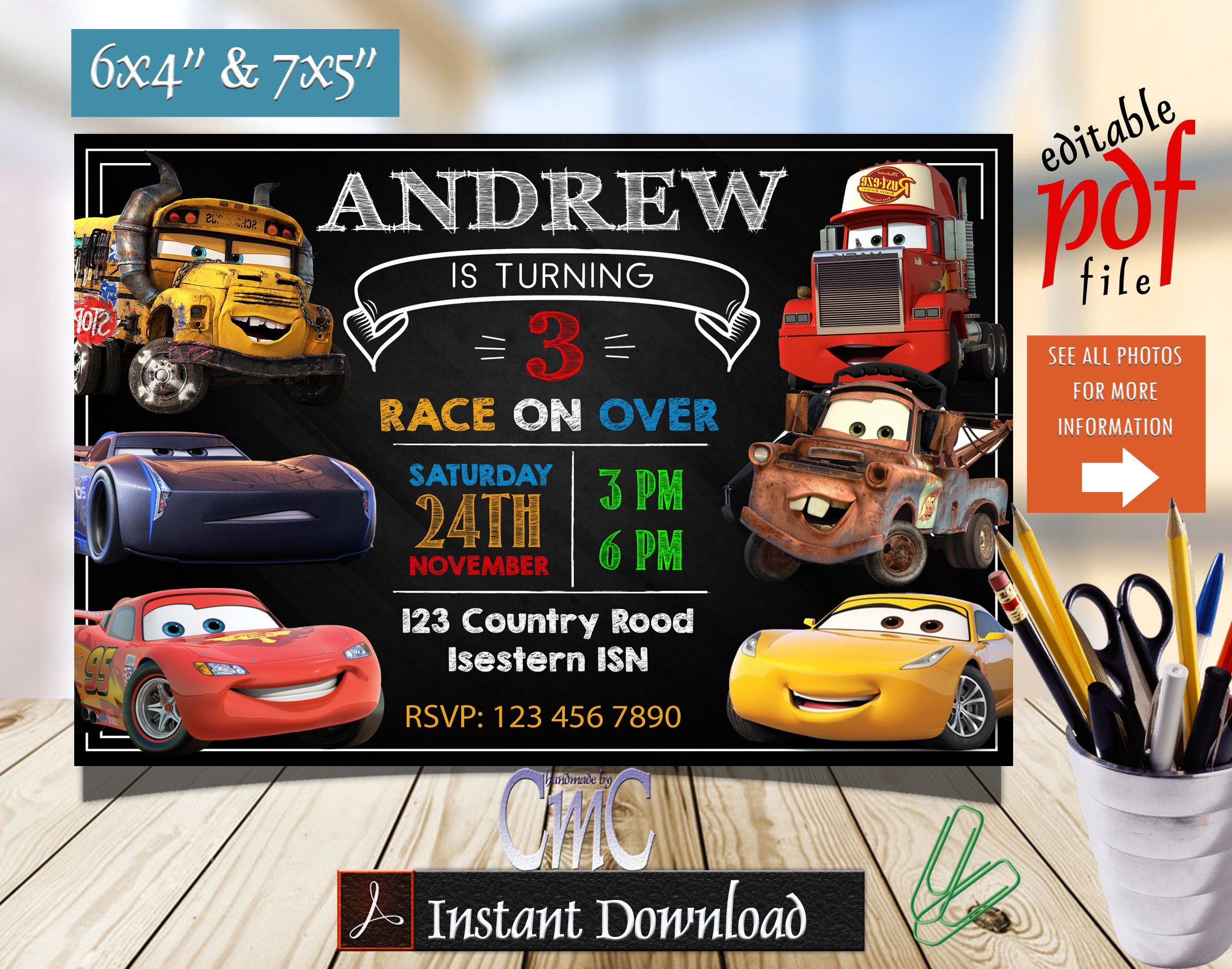 Editable Cars Invitation, Cars Birthday, Cars Party, Cars Invite, Disney  Cars Invitation, Cars 3 Invitation, Cars Invitation Birthday, Cars