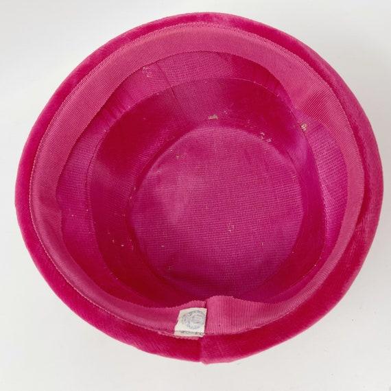 50s 60s Pink Velvet Union Made Pillbox Hat ILGWU - image 2