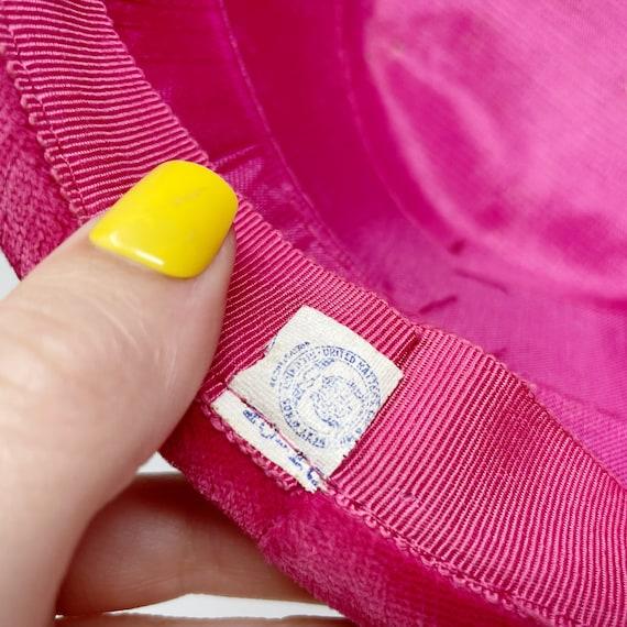 50s 60s Pink Velvet Union Made Pillbox Hat ILGWU - image 3