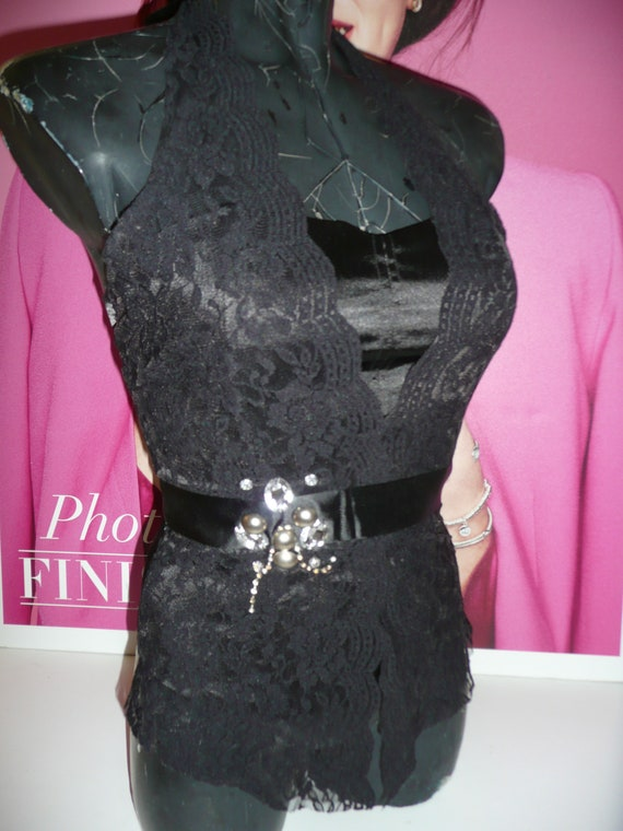 Black Corset blouse EVITA/Steampunk Corset blouse… - image 9