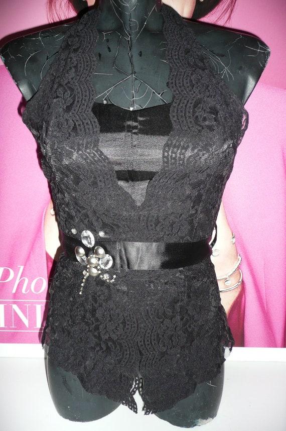 Black Corset blouse EVITA/Steampunk Corset blouse… - image 2