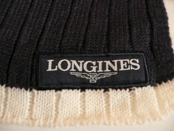 Vtg LONGINES Blue & White Wool Scarf/fashion mens