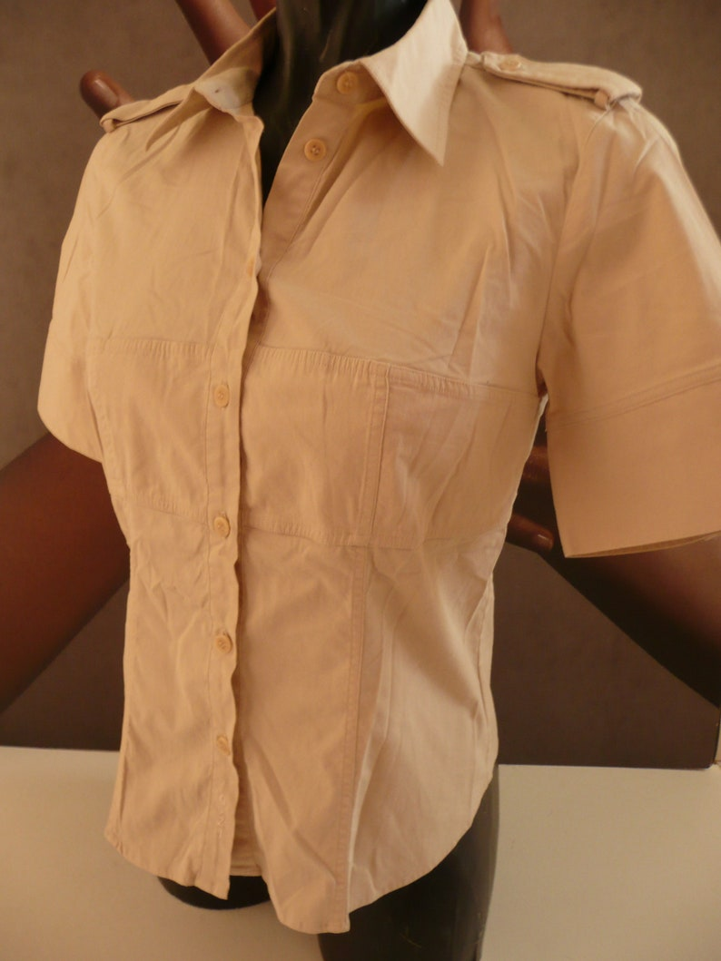 GANT women/'s military style blousecasual beige blousefashion Fitted Silhouette blousebrand cotton blousestretch summer shirtUS 6,UK 10.