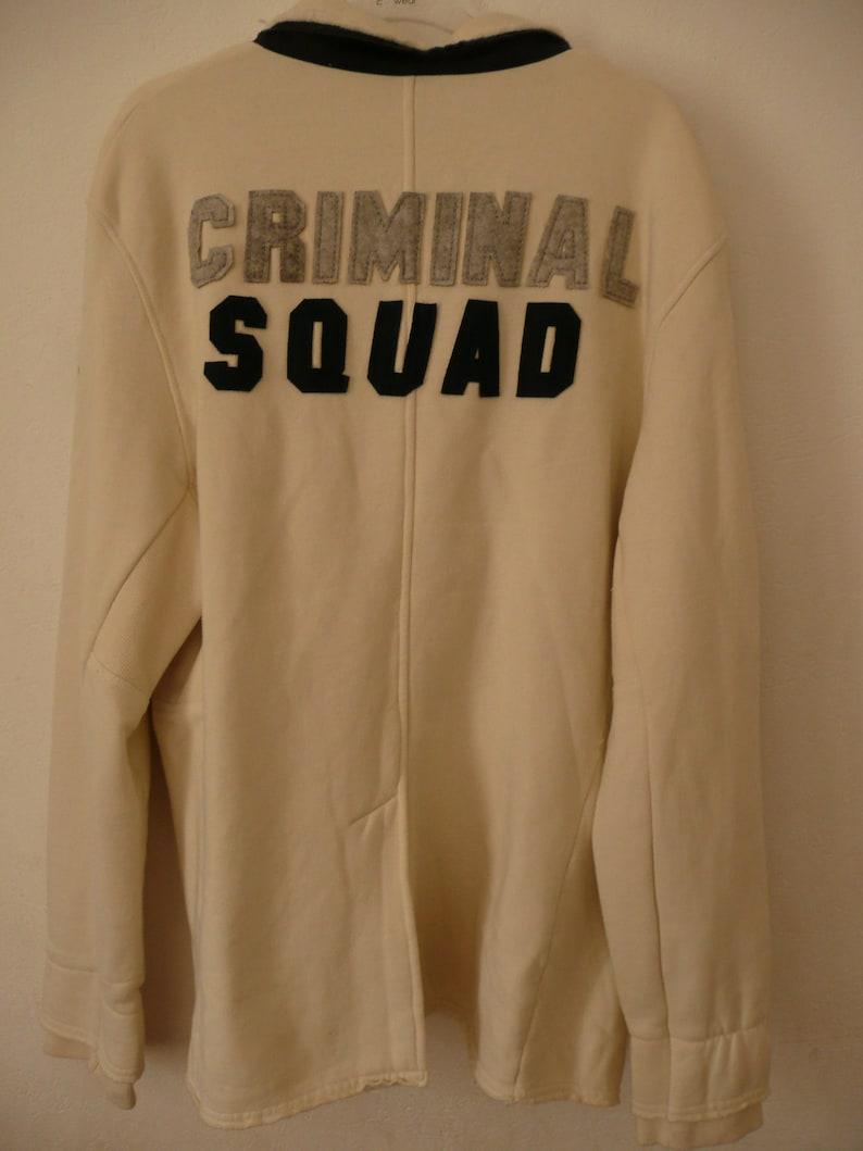 Vintage mens Jacket-sweatshirt YELL!young hooligans CRIMe Logo jacketCriminal SQUAD Logodenim styled in Italyinternational basic lookXL