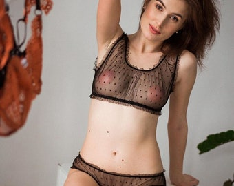 f2154867a Sexy Black Sheer Bralette Lingerie Set • Wireless Unlined See Through Soft  Cup Lace Polka Top + Erotic Women's Panty • Ladies Underwear
