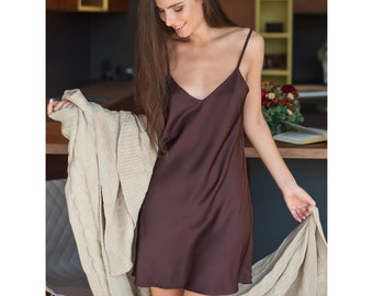 Brown Satin Chemise • Sexy Erotic Ladies Nightgown bb675aa1c