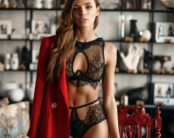 11324365c4bcc Black Sexy Lace Bra Set • Women s High Neck Plus Size Lingerie Gift • Wired  Soft Cup Unlined Bra + Erotic See Through High-Waisted Panty