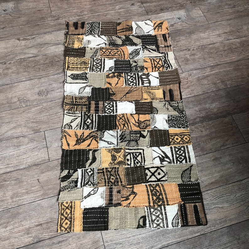 Mixed Korhogo Cloth-Patchwork-Japanese Boro Inspired-Perfect For Sewing Project-Cushion Cover-Bag And Craft 47\u201dx24\u201d
