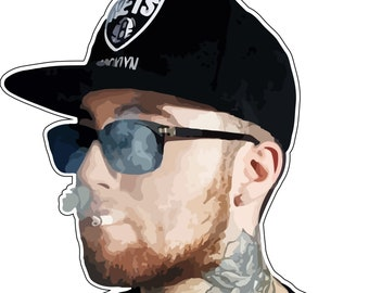 a21bb7d824b88 Mac Miller Rapper Smoke Cigarette Black Hat Jacket Larry Fisherman High  Quality Vinyl Sticker