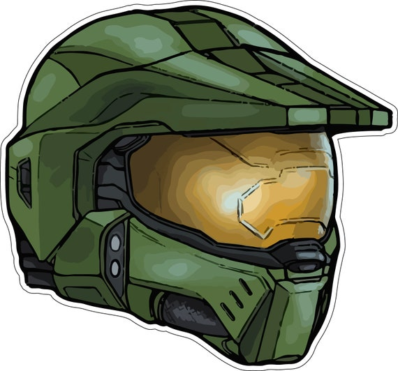 Master Chief Halo Helmet Spartan Video Game High Quality Vinyl Sticker
