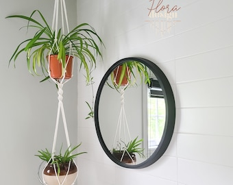 Yucatan planter / double hanging gardener in macramé / natural white cotton / support for two plants